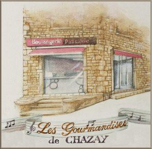 """Aquarelle pour Boulangerie """" Les Gourmandises de Chazay"""" Chazay d'Azergues"""