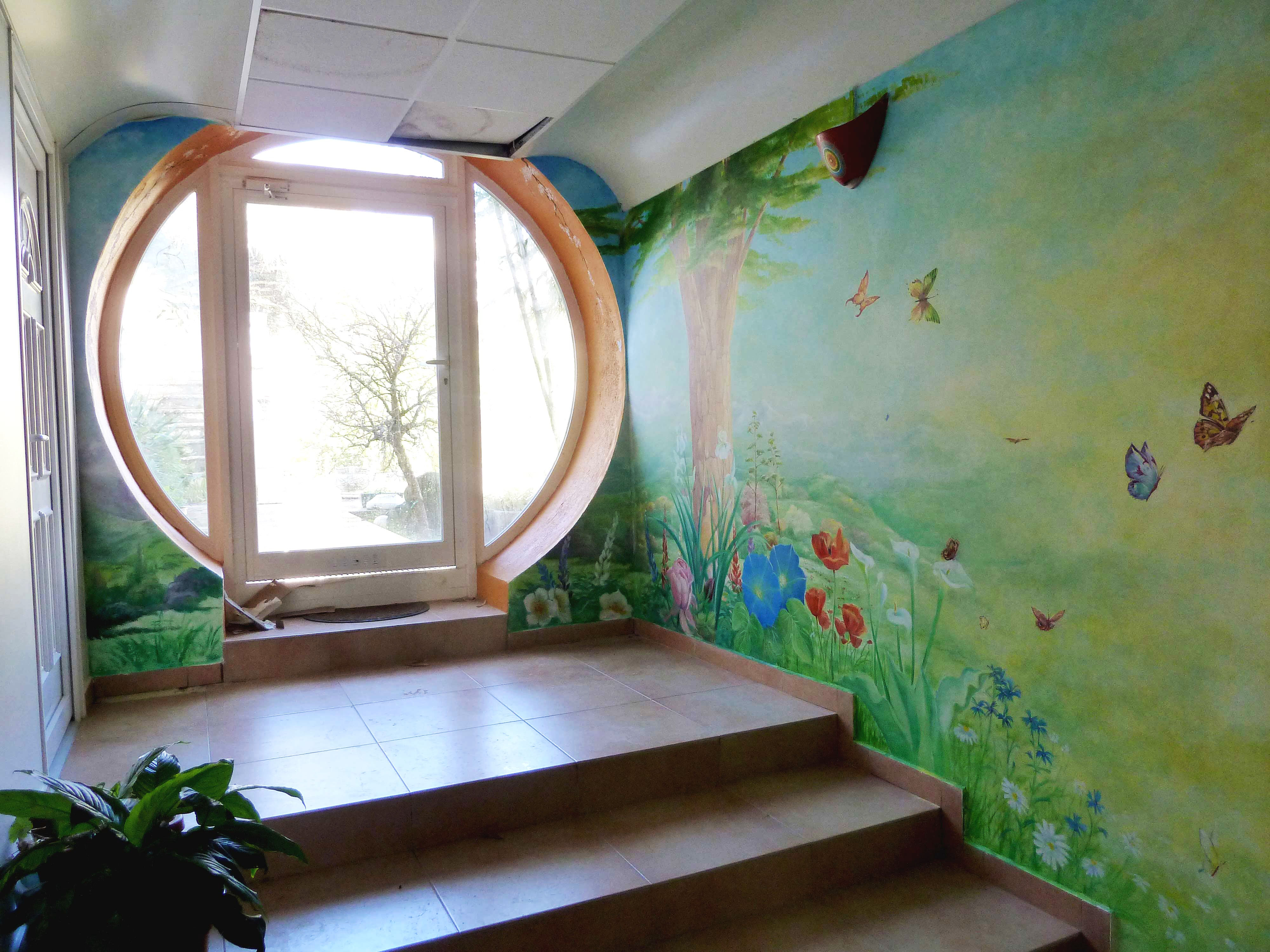 TX Art Mural en M/étal Grande Maison Arts D/écoratifs Europ/éens Modernes en Fer Salon Fond D/écoration Fleurs