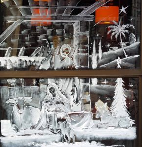 Décor vitrine- Brasserie des écolese
